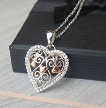 Load image into Gallery viewer, Solid 925 Sterling Silver & Rose Gold Celtic Filigree Crystal Heart Pendant Necklace