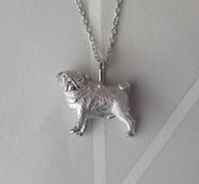 Load image into Gallery viewer, Sterling Silver Pug Pendant Necklace