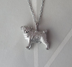 Sterling Silver Pug Pendant Necklace