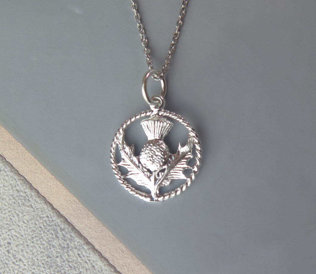 Scottish Thistle Sterling Silver Round Celtic Pendant Necklace