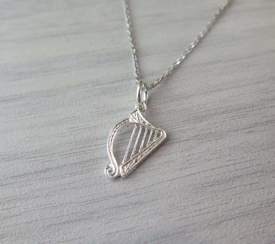 Sterling Silver Irish Harp Celtic Pendant Necklace