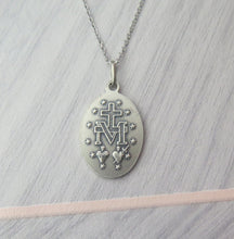 Load image into Gallery viewer, Sterling Silver Oxidised Miraculous Medal Pendant Necklace