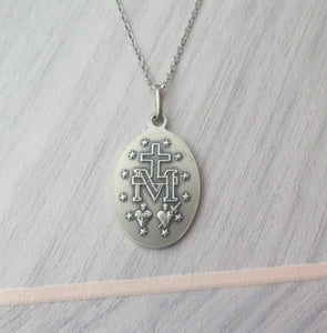 Sterling Silver Oxidised Miraculous Medal Pendant Necklace