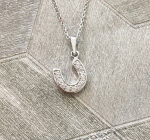 Solid 925 Sterling Silver Small Lucky Horseshoe Pendant Necklace
