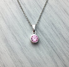 Load image into Gallery viewer, Sterling Silver Czech Cubic Zirconia Crystal Birthstone Pendant