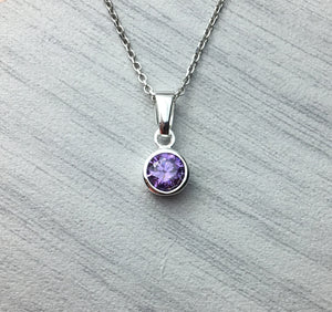 Sterling Silver Czech Cubic Zirconia Crystal Birthstone Pendant
