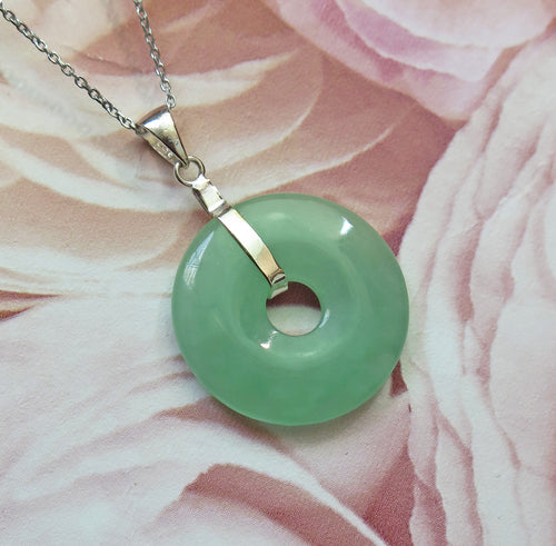 Lucky Genuine Grade A Natural Jade & 925 Sterling Silver Agogo Pendant