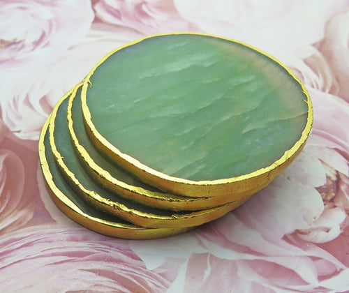 Set of 4 Gold Dipped Jade Gemstone Coasters