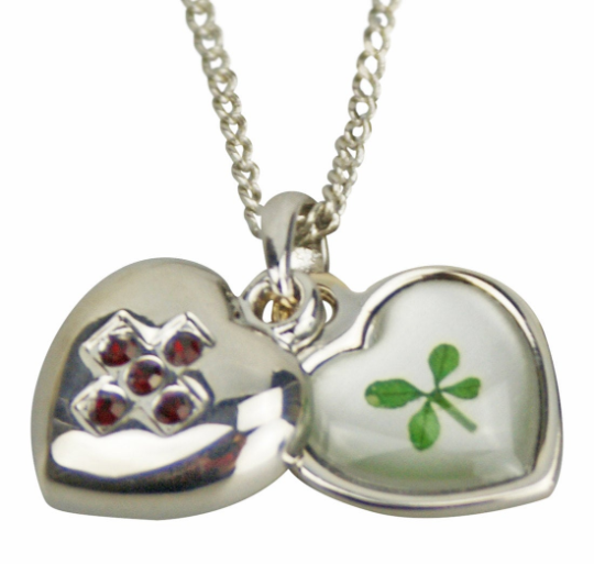 Lucky Real Four Leaf Clover January Birthstone Pendant Necklace