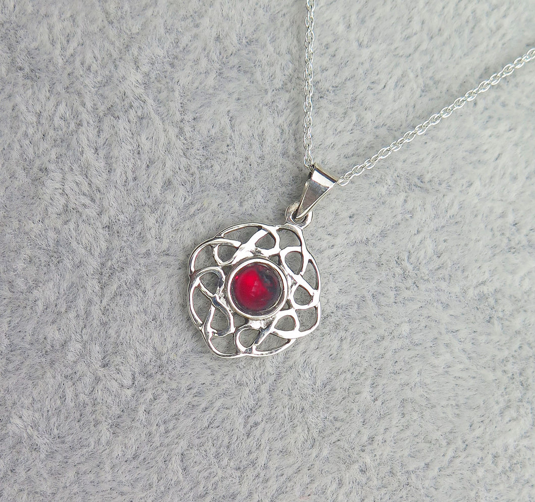 Sterling Silver Celtic Knot January Birthstone Pendant