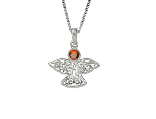 Sterling Silver Celtic Lucky January Angel Birthstone Pendant Necklace