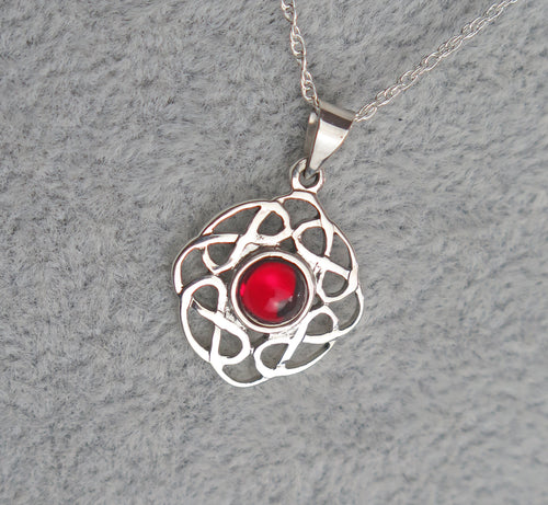 Sterling Silver Celtic Knot July Birthstone Pendant