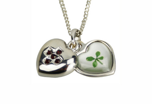Lucky Real Four Leaf Clover July Birthstone Pendant Necklace