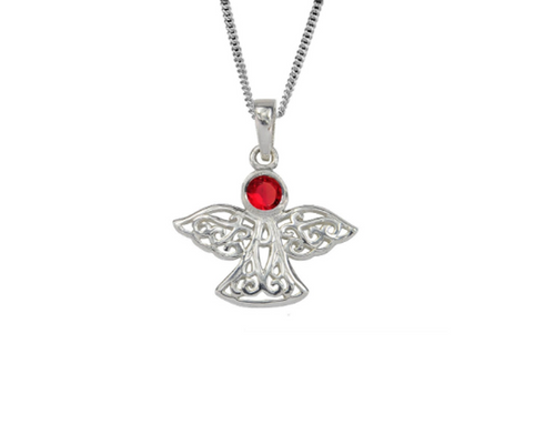 Sterling Silver Celtic Lucky July Angel Birthstone Pendant Necklace