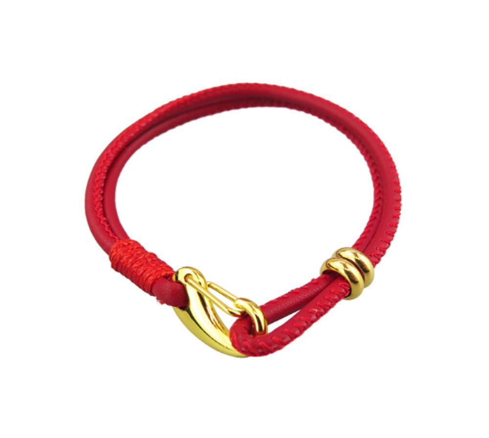 Kabbalah Red Gold Plated Leather Bracelet