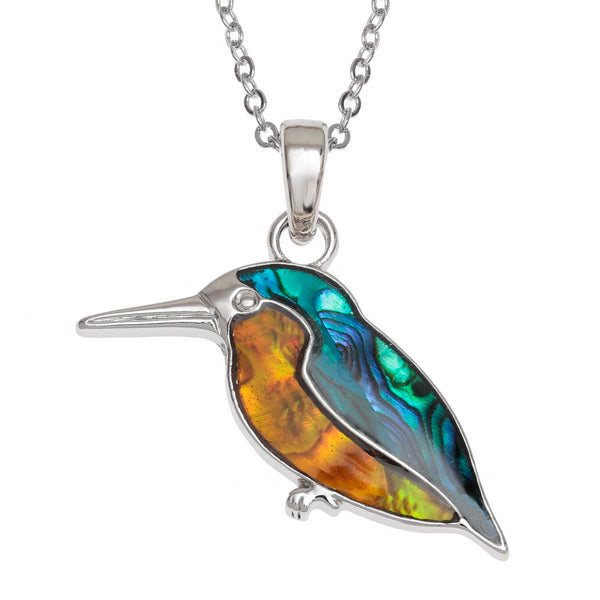 Lucky Genuine Paua Shell Kingfisher Pendant Necklace