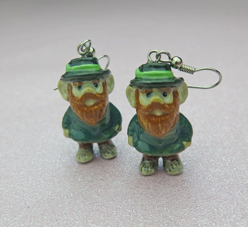 Lucky Irish Leprechaun Porcelain Earrings