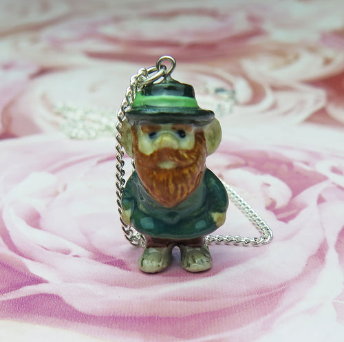Lucky Irish Leprechaun Porcelain Pendant Necklace