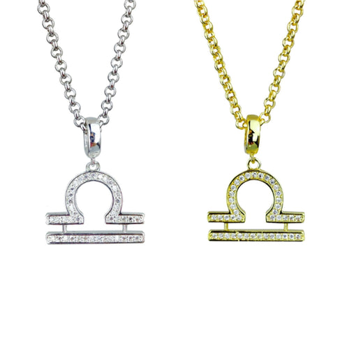 Gold & Silver Plated Libra Horoscope Zodiac Czech Crystal Pendant Necklace