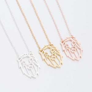 Rose Gold, Gold and Silver Plated Lion Origami Pendant Necklace