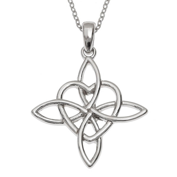 Celtic Love Heart Filigree Knot Pendant Necklace