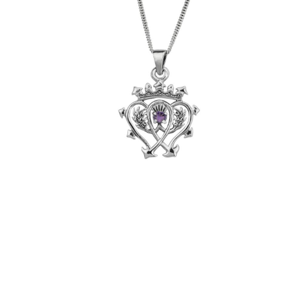 Scottish Luckenbooth Sterling Silver Pendant with Amethyst Stone