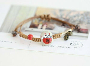 Lucky Cat Maneki Neko Ceramic Hand Painted Feng Shui Bracelet