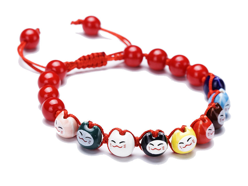 Lucky Cat Maneki Neko Ceramic Red Bracelet
