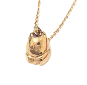 Maneki Neko Lucky Cat 18K Rose Gold Plated Stainless Steel Pendant Necklace