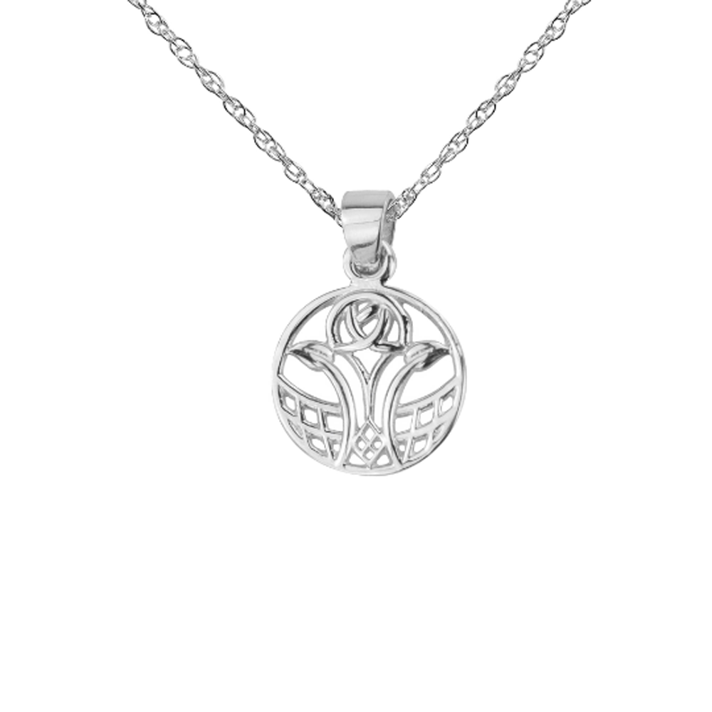 Mackintosh Scottish Glasgow Rose Round Pendant Necklace