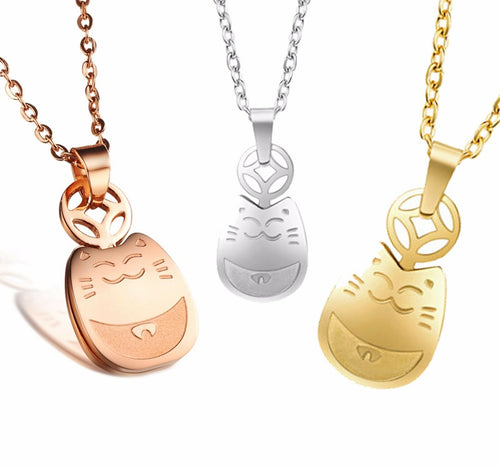 Lucky Cat Maneki Neko Pendant Necklace in Gold, Silver or Rose Gold Plated