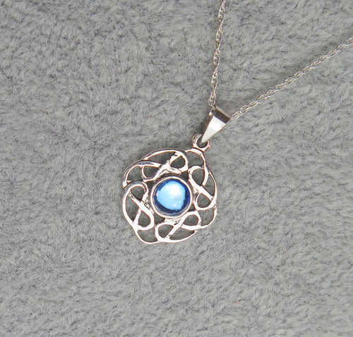 Sterling Silver Celtic Knot March Birthstone Pendant