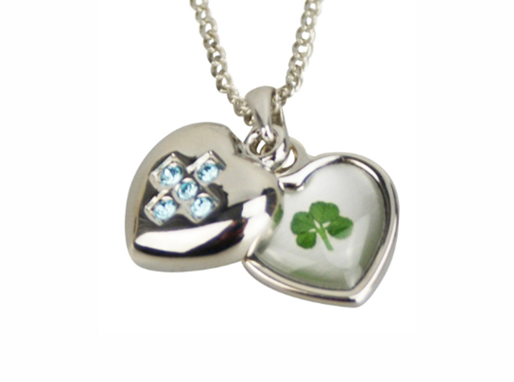 Lucky Real Four Leaf Clover March Birthstone Pendant Necklace