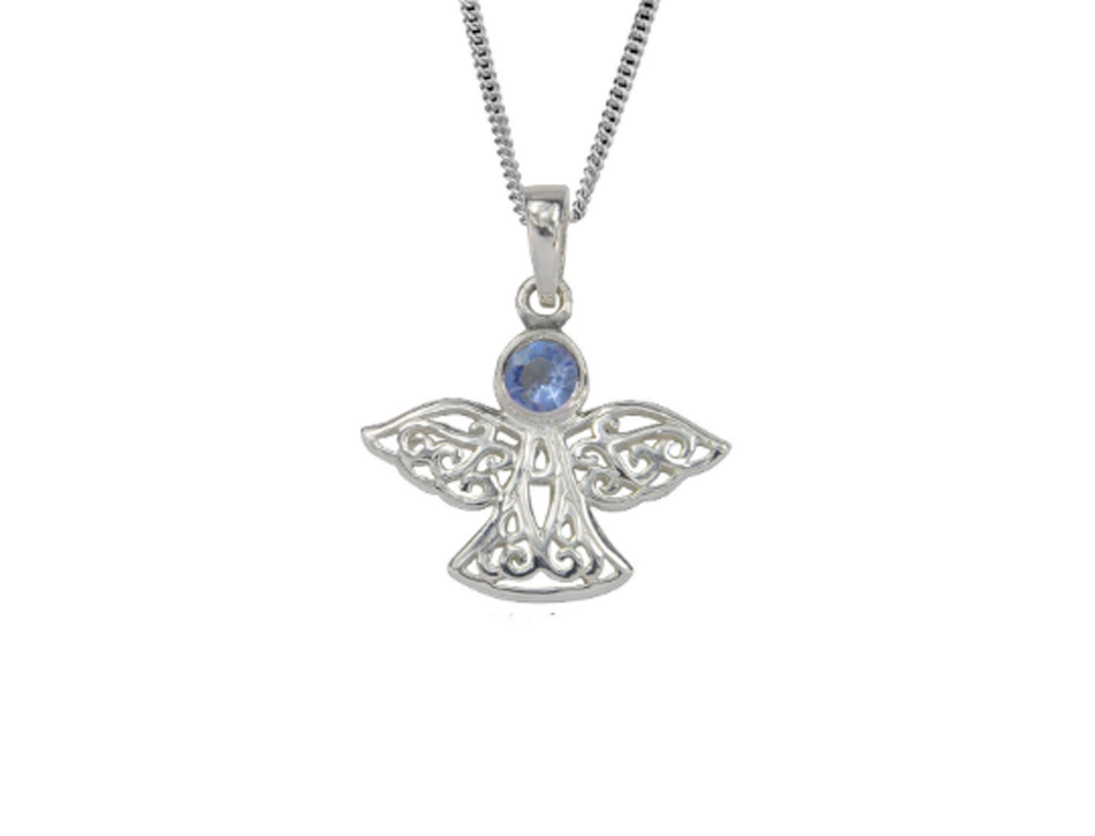 Sterling Silver Celtic Lucky March Angel Birthstone Pendant Necklace