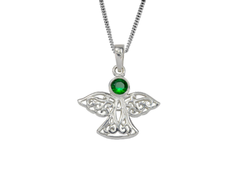 Sterling Silver Celtic Lucky May Angel Birthstone Pendant Necklace