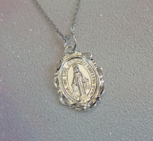 Sterling Silver Miraculous Medal Pendant Necklace