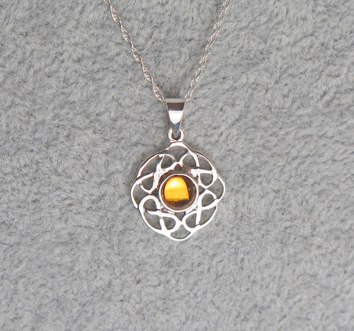Sterling Silver Celtic Knot November Birthstone Pendant