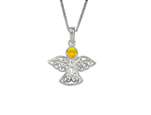 Sterling Silver Celtic Lucky November Angel Birthstone Pendant Necklace