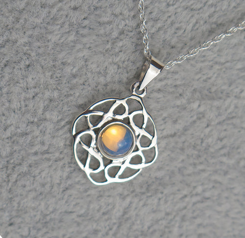 Sterling Silver Celtic Knot October Birthstone Pendant