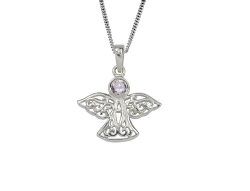 Sterling Silver Celtic Lucky October Angel Birthstone Pendant Necklace