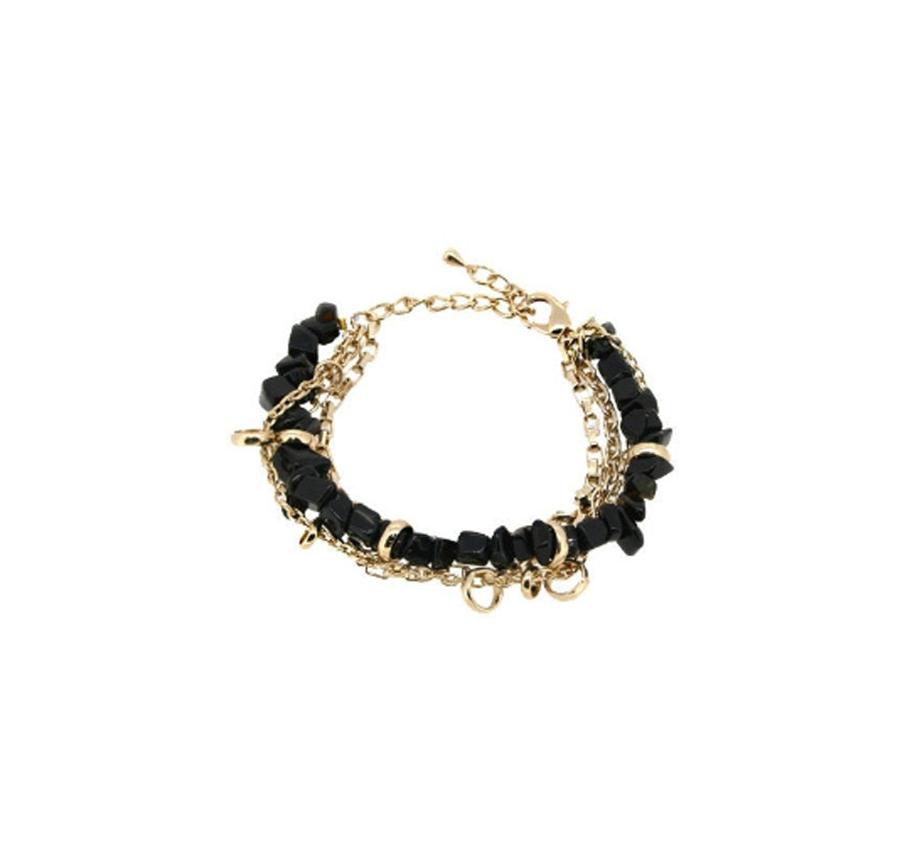 Black Onyx Gemstone Gold Plated Chain Protection Bracelet