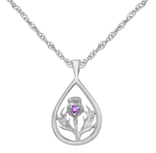 Celtic Scottish Thistle with Amethyst Oval Pendant Necklace
