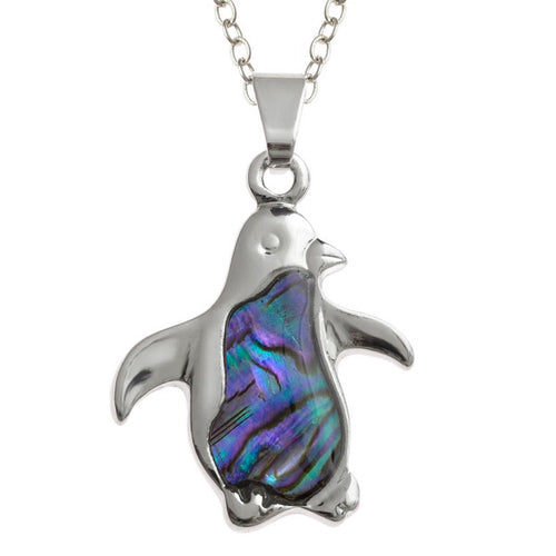 Lucky Genuine Paua Shell Penguin Pendant Necklace