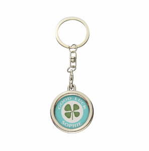 Lucky Real Four Leaf Clover Personalised Blue Keyring Keychain