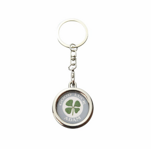 Lucky Real Four Leaf Clover Personalised Grey Keyring Keychain