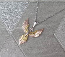 Load image into Gallery viewer, Sterling Silver, Gold and Rose Gold Tricoloured Pheonix Pendant Necklace