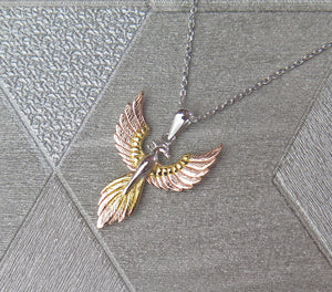 Sterling Silver, Gold and Rose Gold Tricoloured Pheonix Pendant Necklace