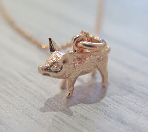 Lucky 925 Sterling Silver 24k Rose Gold Plated Pig Pendant Necklace