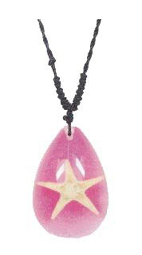 Lucky Real Starfish Pink Healing Pendant Necklace