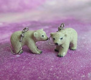 Polar Bear Cub Porcelain Earrings